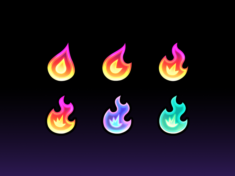 Twitch Badges l.a.v.a subscriber badges gradient fire icon flames icons twitch.tv twitch