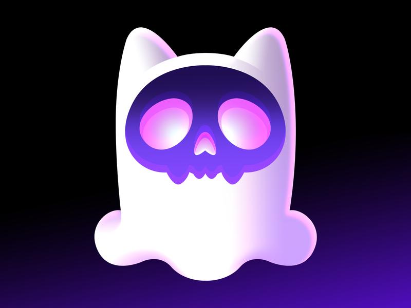 Catghost neon pixel avatar skull icon ghost cat catghost