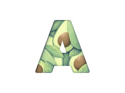 Cyrillic alphabet 1/33 fruit vegetables vegetal alphabet avocado grain texture vector design texture illustration grit