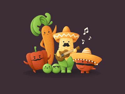 Buenas tardes! characters music group musician music group mariachi mexican mexico vegetables grain texture vector design texture illustration grit
