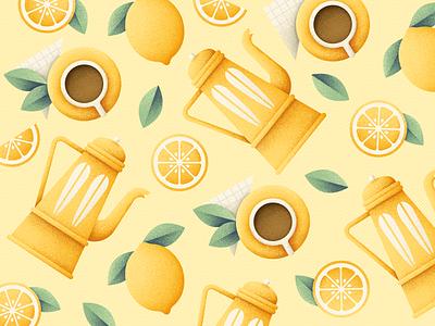 Tea Pattern kettle cup lemon pattern tea grain texture vector design texture illustration grit