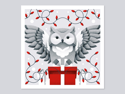 Winter postcard №1 postcard garlands lights lanterns gift owl animal grain texture vector design texture illustration grit