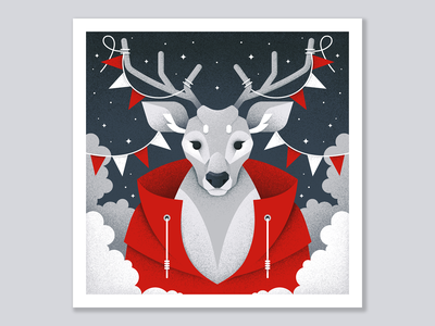 Winter postcard №2 winter flags deer forest animal grain texture vector design texture illustration grit