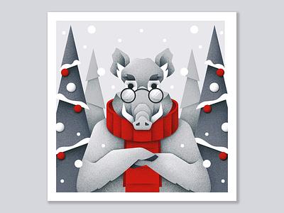 Winter postcard №3 christmas tree winter forest hog animal grain texture vector design texture illustration grit