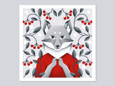 Winter postcard №4 forest winter berry fox animal grain texture vector design texture illustration grit
