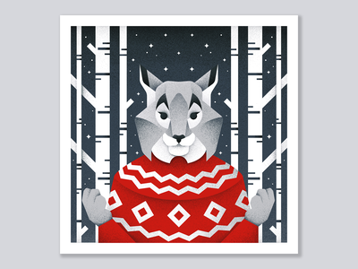 Winter postcard №5 winter forest lynx animal grain texture vector design texture illustration grit