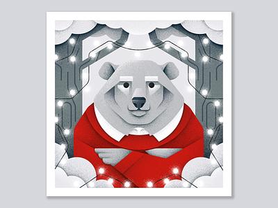 Winter postcard №6 lights bear winter forest animal grain texture vector design texture illustration grit