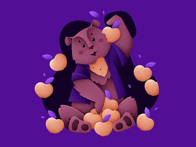 Mr. Apple Bear apple bear characters forest animal fruit grain texture vector design texture illustration grit