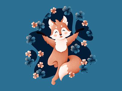 Lucky Fox characters clover fox animal grain texture vector design texture illustration grit