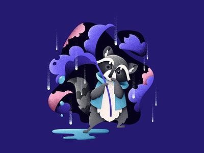 It's too wet! characters rain wet forest raccoon grainy animal grain texture vector design texture illustration grit