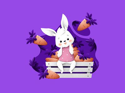 Carrot happiness carrot rabbit vegan food forest animal grain texture vector design texture illustration grit