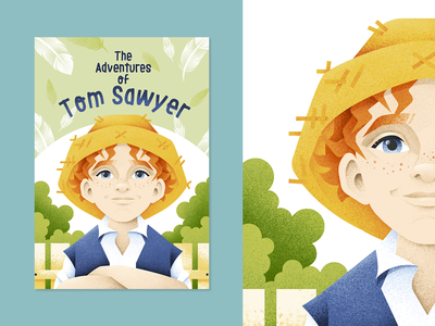 Tom Sawyer character boy book cover cover design book tom sawyer child grain texture vector design texture illustration grit