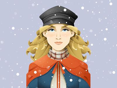 Jo March character girl saoirse ronan little women grain texture vector design texture illustration grit