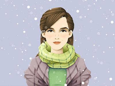 Meg March girl portrait character emma watson little women grain texture vector design texture illustration grit