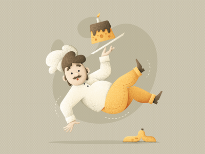 Сlumsy chef grit flat vector cakes human chef hat design