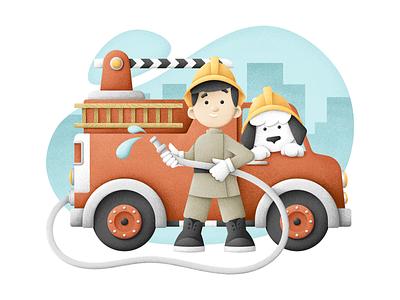 Brave little fireman fire engine dog job car child vectors texture illustration grain texture vector grit