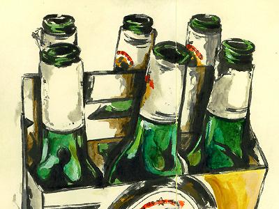 Markpenxa Sketchbook 012 illustration sketchbook still life beer beverage stella artois sketch painting acrylic moleskine