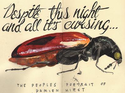 The Peoples Portrait Of Damien Hirst illustration sketchbook insect cockroach sketch damien hirst knob wanker ponce moleskine