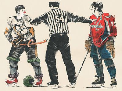 Alex Fights A Clown illustration sports hockey nhl alexander ovechkin sydney crosby pittsburgh penguins washington capitals fantasy