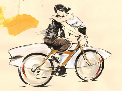 Moscow illustration sketchbook sketch moleskine surf bike ride bicycle romance moscow russia
