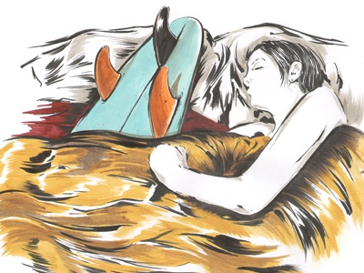 Eli Sleeps Carefully illustration sketchbook dream girl surf surfboard still life