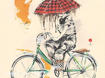 Umbrella illustration sketch umbrella bike bicycle pen acrylic