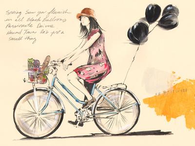 Passionate Driver illustration sketchbook girl bike balloons detroit