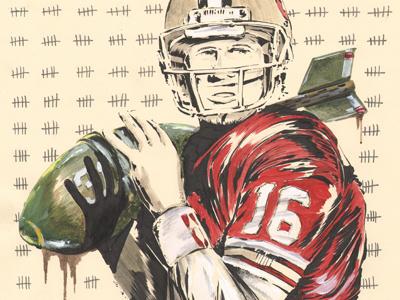 Joe Montana illustration football nfl sports san francisco 49ers joe montana athletics red green dribbble 16 icon legend bomb military