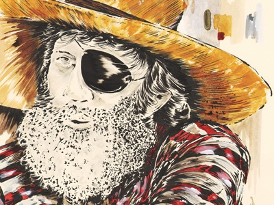 Jack Oneill surf portrait jack oneill illustration stripes red hat white icon legend gold yellow wet suit eye patch beard straw ocean beach waves