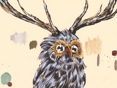 Purple Dowl animal owl purple deer hybrid illustration fantasy impure pen ink acrylic