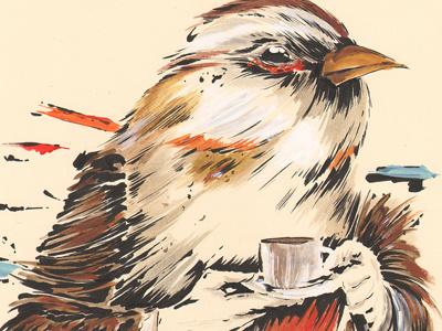 Morningbird bird coffee morning animal fantasy illustration pen ink acrylic