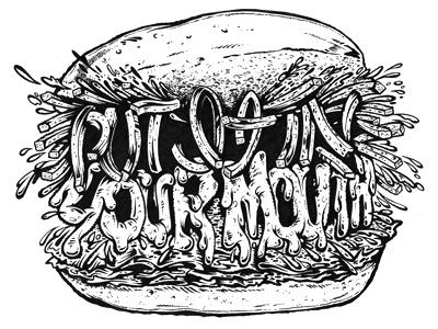 Big Ass Sandwich food sandwich portland food cart pen illustration eat black white