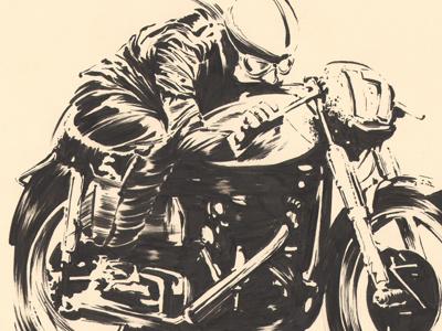 John Surtees sketch brush black white negative portrait motorcycle illustration commission