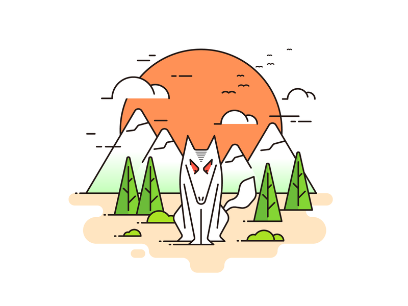 Ferocious wolf in the sunset ferocious sunset idea ui logo icon design illustration wolf