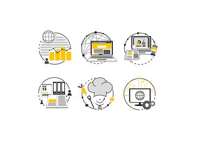 Job Icons in black and white + yellow office buisness media data engineer chef logo chef hat icon adobe vector illustrator detailed minimal logo branding art illustration design