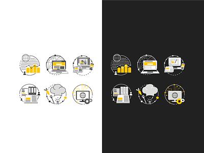 Icons on white and black background clean vector illustrator detailed minimal logo branding art illustration design