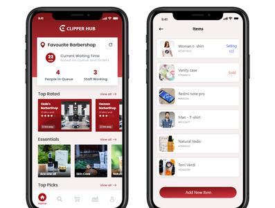 Clipperhub mobile app typography mockup layout flat ui app design
