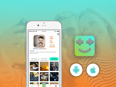 Social Media App Concept mobile app mockup app layout typography ui flat design