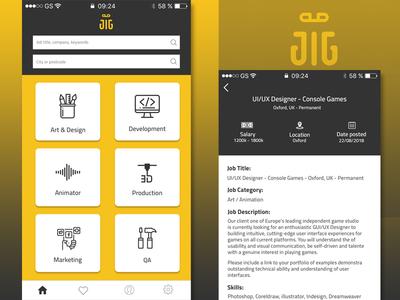 Job Search icon mobile app mockup app layout typography ui flat design