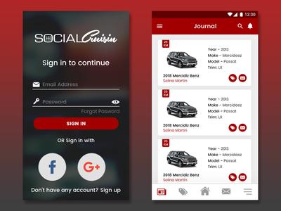 social crusine branding logo mobile app mockup app layout typography ui flat design