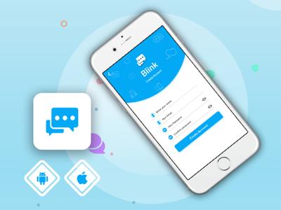 Messenger App icon logo mobile app mockup app layout typography ui flat design