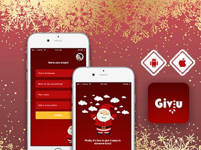 Christmas App Concept vector illustration mobile app app mockup layout typography ui flat design