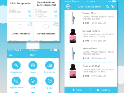 Dental App Concept icon mobile app app mockup layout typography ui flat design