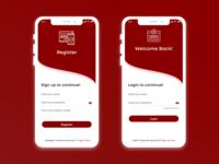 Login and Register Concept minimal icon mobile app app mockup layout ui typography flat design
