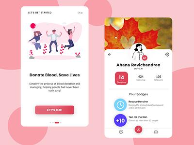 Blood Donators - Community App profile page profile red blood donation ui app app design minimal design