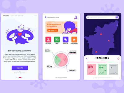 KnowVid - A Covid19 Tracker app dataviz tracker coronavirus covid19 color palette ui app design app design
