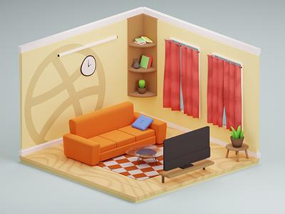 Simple Interior interior blender blender3d lowpoly minimal