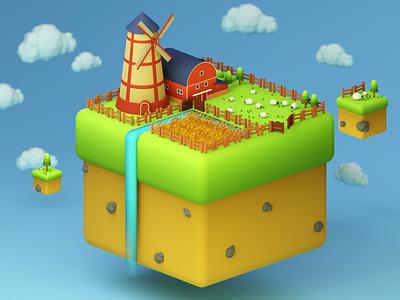 farm on floaty islands nature illustration blender3d blender lowpoly minimal