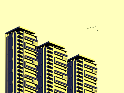 Minimal Buildings 2 colors building color palette blender3d blender design minimal