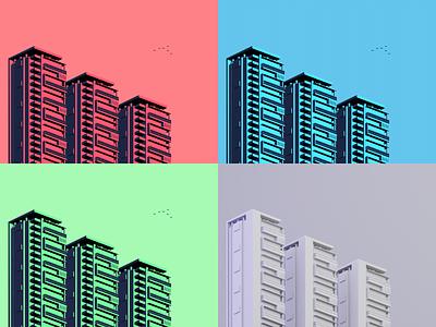 Different colors buildings 4 color 3d color palette blender3d lowpoly blender design minimal